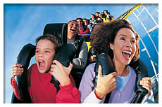 people riding rollercoaster