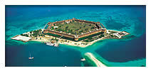 aerial view of hexagon-shaped Fort Jefferson in the middle of the ocean at Dry Tortugas National Park